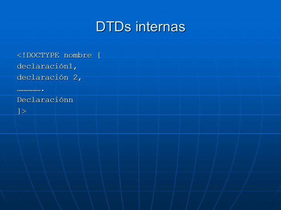 DTDs internas <!DOCTYPE nombre [ declaración1, declaración 2,